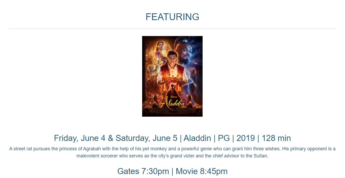 Drive In Movie - Aladdin